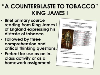 """""""A Counterblaste to Tobacco"""" - King James I - Colonial Ame"""