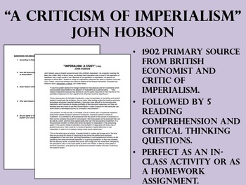 """A Criticism of Imperialism"" - Global/World History"