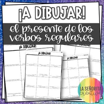 ¡A Dibujar! Regular Present Tense Verbs - Spanish drawing activity