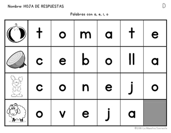 Cut, Spell, and Paste: Writing O Syllables (Spanish)