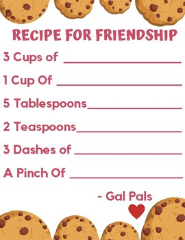 """A Friend Is..."" Friendship Recipe Activity"