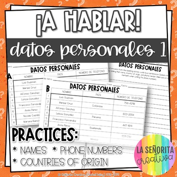 ¡A Hablar! Interpersonal Speaking Activity – Personal Info 1 Information Gap