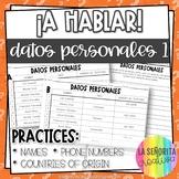 Personal Info | Interpersonal Speaking Info Gap Activity EDITABLE