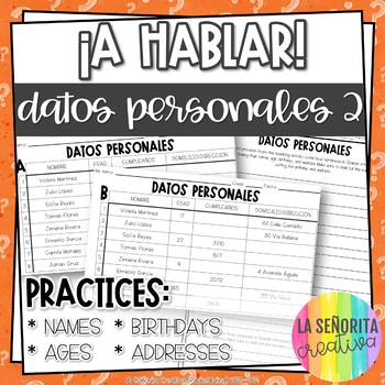 ¡A Hablar! Interpersonal Speaking Activity – Personal Info 2 Information Gap