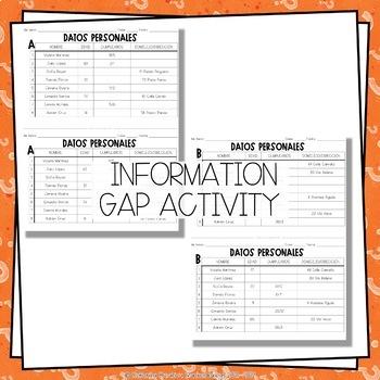 ¡A Hablar! Interpersonal Speaking Activity – Personal Info 2 Information Gap