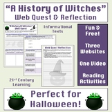 """""""A History of Witches"""" Free Web Quest and Reflection Activity"""