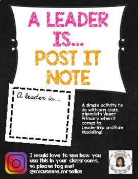 'A LEADER IS' POST IT NOTE