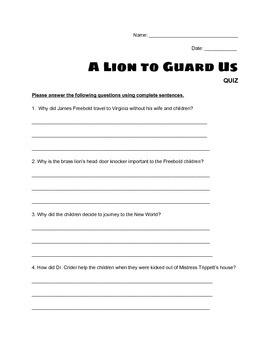 """A Lion to Guard Us"" - QUIZ"