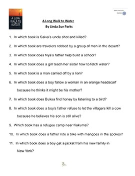 """""""A Long Walk to Water""""  By Linda Sue , Battle of the Books Questions"""