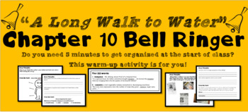 """""""A Long Walk to Water"""" Chapter 10 Warm-Up Activity - Bell Ringer - PRINTABLE"""