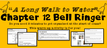 """""""A Long Walk to Water"""" Chapter 12 Warm-Up Activity - Bell Ringer - PRINTABLE"""