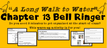 """A Long Walk to Water"" Chapter 13 Warm-Up Activity - Bell Ringer - PRINTABLE"
