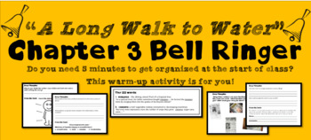 """""""A Long Walk to Water"""" Chapter 3 Warm-Up Activity - Bell Ringer - PRINTABLE"""