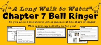 """""""A Long Walk to Water"""" Chapter 7 Warm-Up Activity - Bell Ringer - PRINTABLE"""