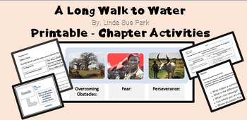 """""""A Long Walk to Water"""" PRINTABLES - chapter activities"""