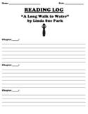 """A Long Walk to Water"" by Linda Sue Park READING LOG WORKSHEET"