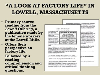 """""""A Look at Factory Life"""" in Lowell, Mass - US History/APUSH"""