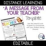'A Message From Your Teacher' Template | Newsletter | Editable