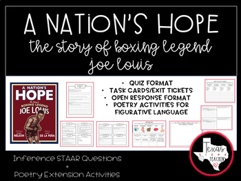 """""""A Nation's Hope"""" Inference STAAR Questions and Task Cards"""