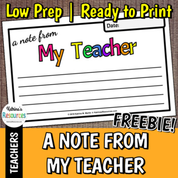 """""""A Note from My Teacher"""" Quick Note Printable *FREEBIE*"""