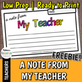 """""""A Note from My Teacher"""" Printable *FREEBIE*"""