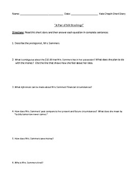 """""""A Pair of Silk Stockings"""" Assessment or Worksheet with Detailed Answer Key"""