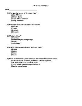 """A Poison Tree"" Quiz #2 Core Knowledge"