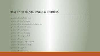 'A Promise' Presentation for Assembly or Form Time
