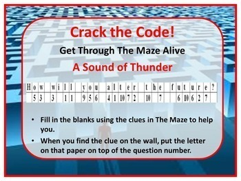 A Sound of Thunder by Ray Bradbury Kinesthetic Maze