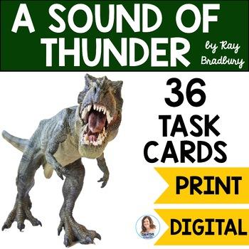 """A Sound of Thunder"" by Ray Bradbury Task Cards with EDITABLE Templates"