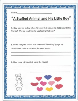 """A Stuffed Animal and His Little Boy"" worksheets"