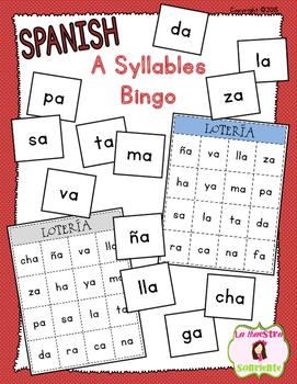 Bingo Game: Reading A Syllables (Spanish)