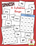Bingo Game: Reading A Syllables (Spanish)