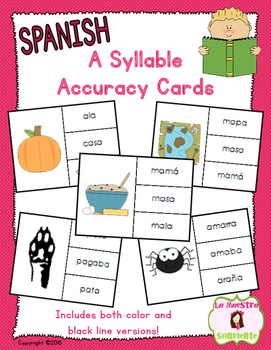 Reading Accuracy Cards: Decoding A Syllables (Spanish)