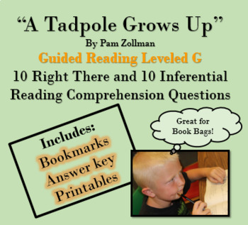 """""""A Tadpole Grows Up"""" 'Read to Self' 'Read to Buddy' guided questions"""