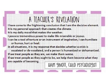 """""""A Teacher's Revelation"""" poem by Hain Ginott  poster"""