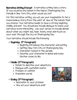 ~A Thanksgiving Narrative Writing/Craft: Macy's Day Parade/Point of View Focus~