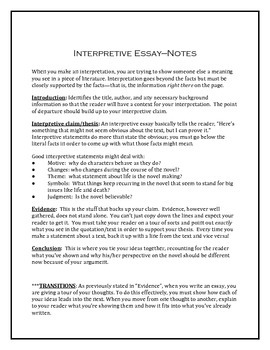 interpretive essay essay Duvall and hays explain and illustrate the four steps of the interpretive journey for write my essay | i need help with my school assignment interpretive essay.