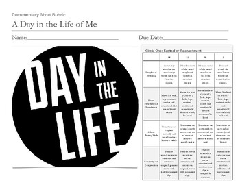 """""""A Day In The Life"""" Multimedia Rubric for projects"""
