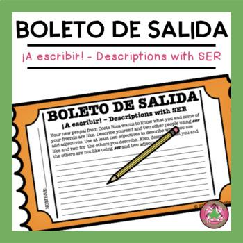 ¡A escribir! - Descriptions with SER Exit Slip