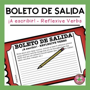 ¡A escribir! - Reflexive Verbs Exit Slip
