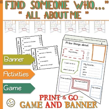"""""""Find someone who…"""" GAME & """"All about ME"""" BANNER - Collaborative activities"""