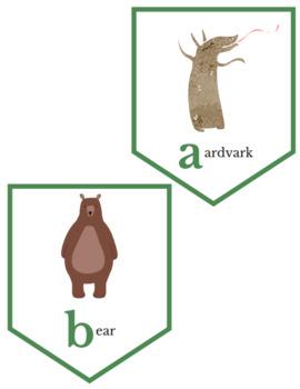 """A is for Aardvark"" Animal Alphabet Printable Bunting Banner"