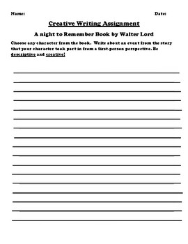 """""""A night to Remember"""" by Walter Lord Creative Writing"""