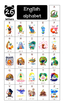 ♥ The English Alphabet. ABC Alphabet Animals (all 26 letters). Classroom Posters