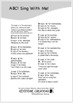 'ABC! Sing With Me!' ~ Lyric Sheet: Read & Learn The Alphabet Letters
