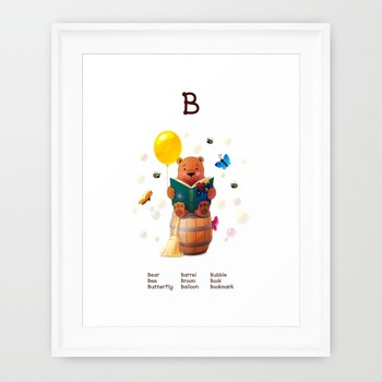 ♥ ABC letter B. Classroom Poster Alphabet - Animals. English animals alphabet.