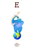 ♥ ABC  letter E. Classroom Poster Alphabet - Animals. Engl