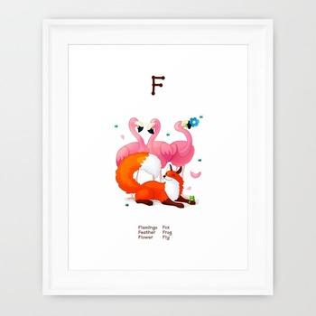 ♥ ABC  letter F. Classroom Poster Alphabet - Animals. English animals alphabet.