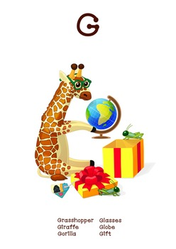 ♥ ABC  letter G. Classroom Poster Alphabet - Animals. English animals alphabet.